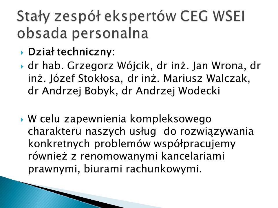 Stały zespół ekspertów CEG WSEI obsada personalna