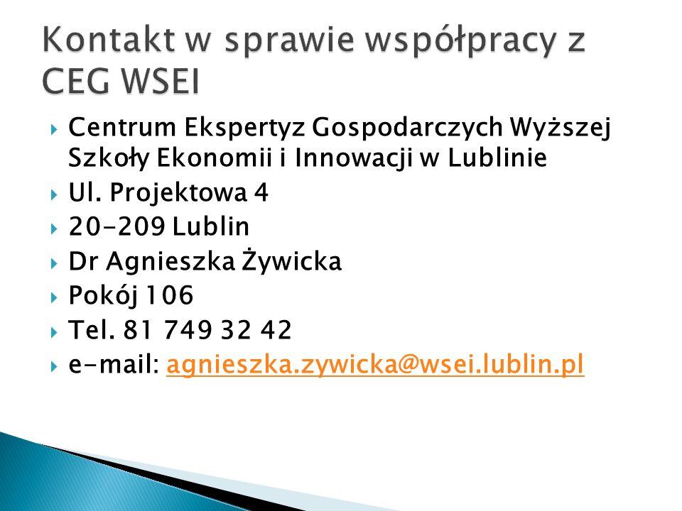 Kontakt w sprawie współpracy z CEG WSEI