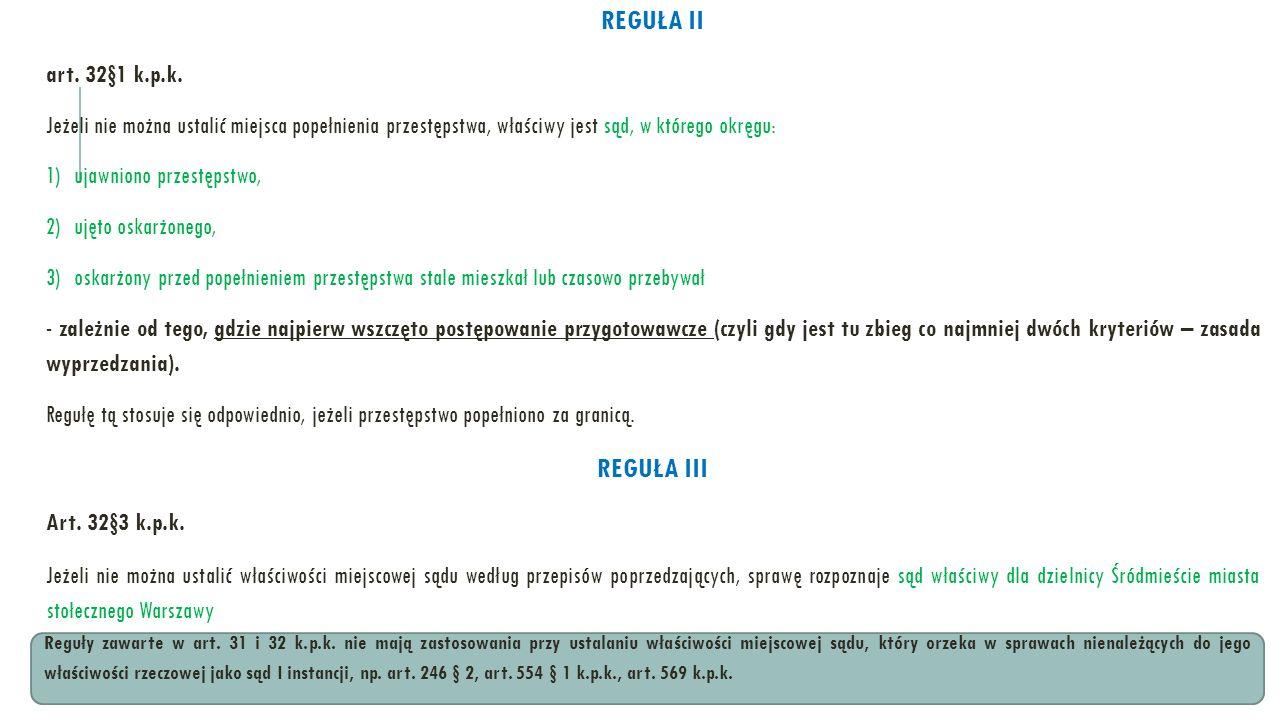 REGUŁA II REGUŁA III art. 32§1 k.p.k.