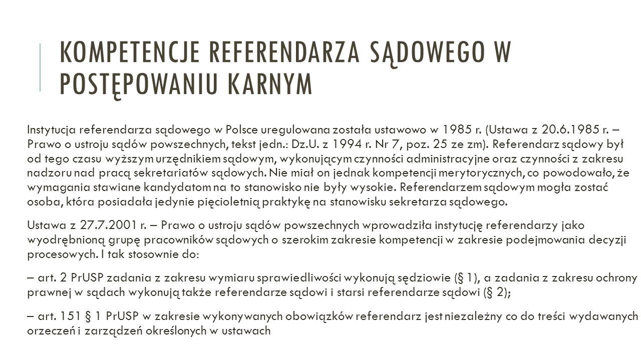 kompetencje referendarza sądowego w postępowaniu karnym