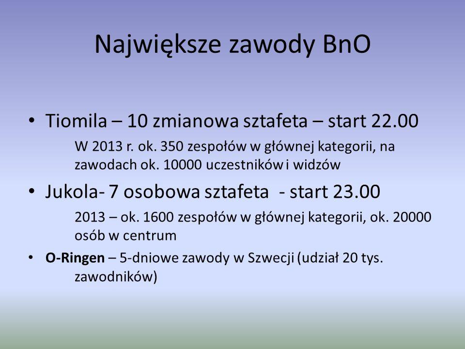 Największe zawody BnO Tiomila – 10 zmianowa sztafeta – start 22.00