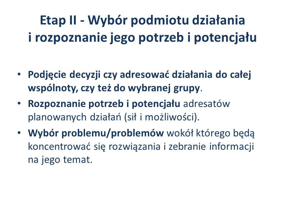 Etap II - Wybór podmiotu działania i rozpoznanie jego potrzeb i potencjału