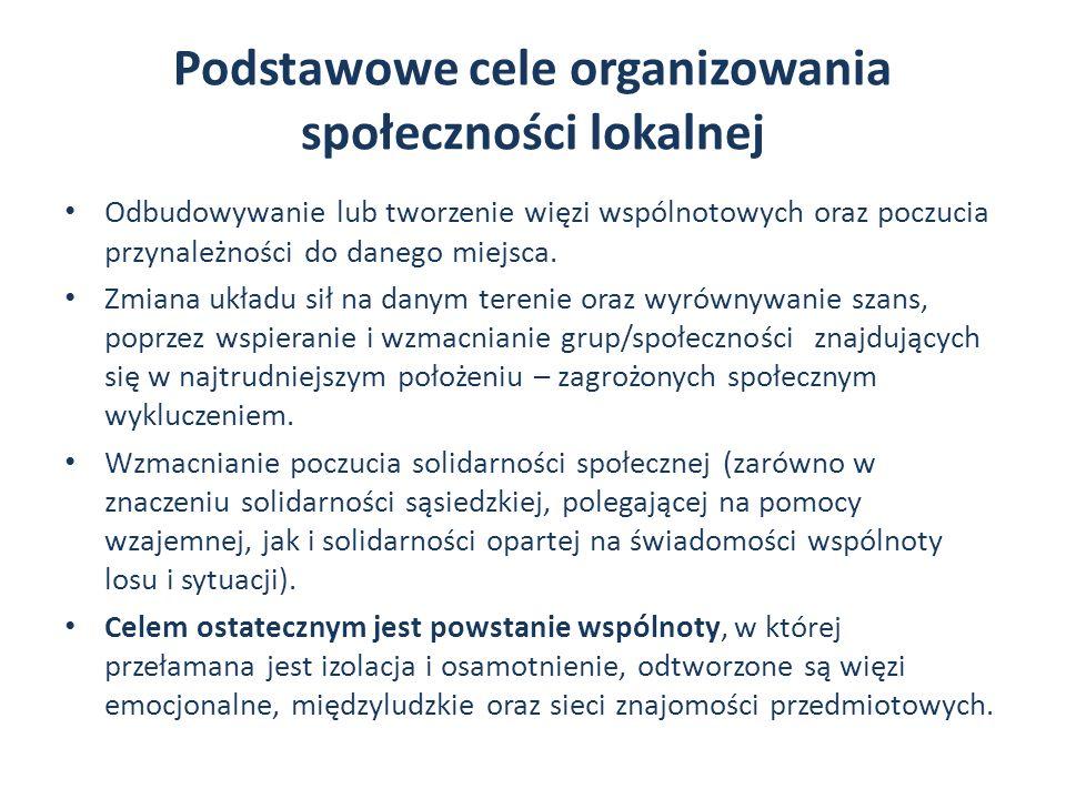 Podstawowe cele organizowania społeczności lokalnej