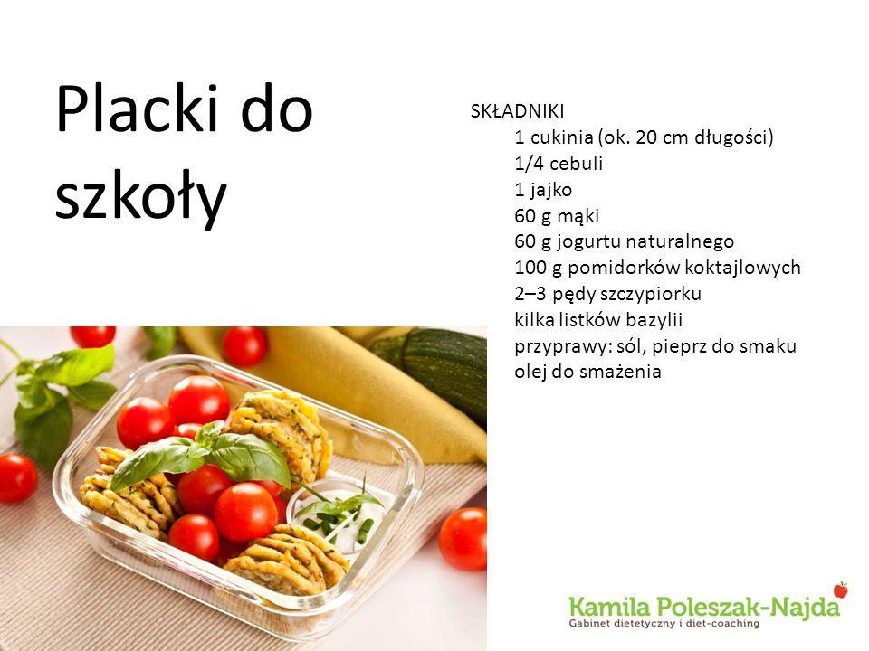 Placki do szkoły SKŁADNIKI 1 cukinia (ok. 20 cm długości) 1/4 cebuli