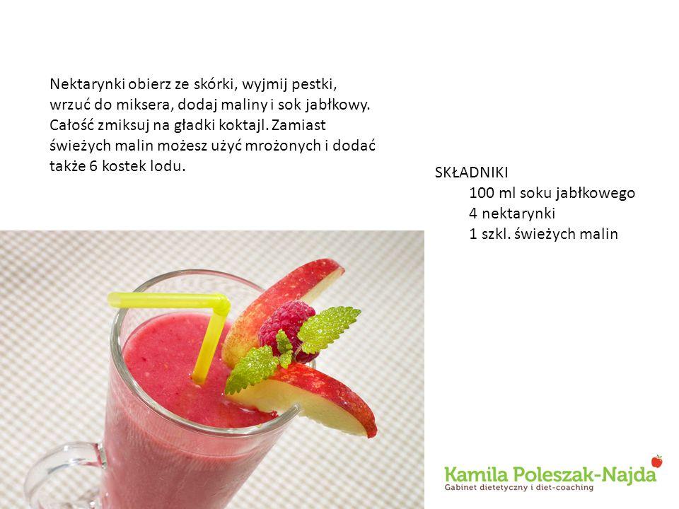 Nektarynki obierz ze skórki, wyjmij pestki, wrzuć do miksera, dodaj maliny i sok jabłkowy. Całość zmiksuj na gładki koktajl. Zamiast świeżych malin możesz użyć mrożonych i dodać także 6 kostek lodu.