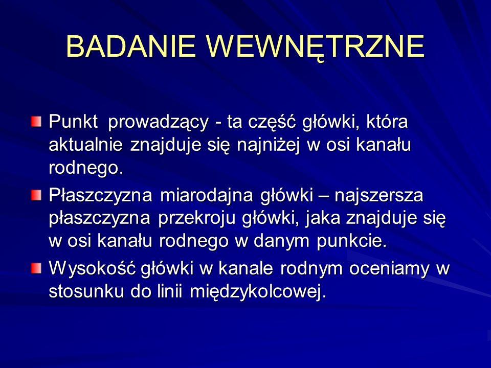 BADANIE WEWNĘTRZNE Punkt prowadzący - ta część główki, która aktualnie znajduje się najniżej w osi kanału rodnego.