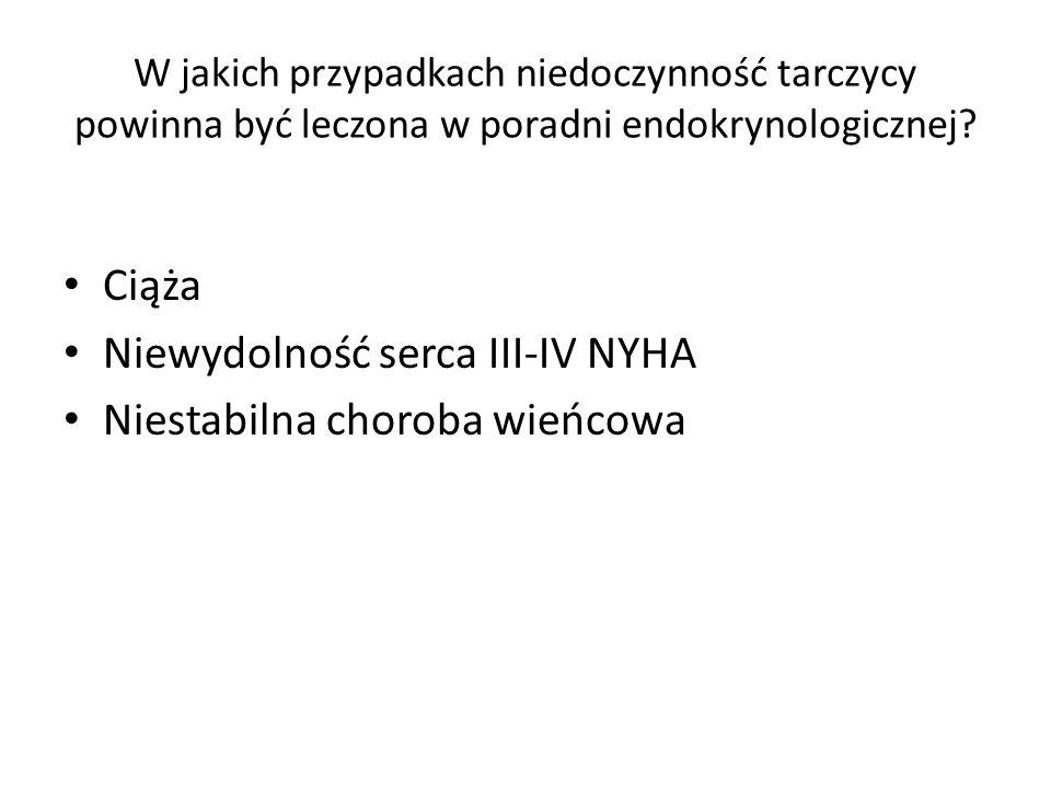 Niewydolność serca III-IV NYHA Niestabilna choroba wieńcowa