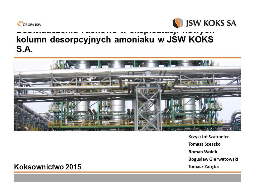 Doświadczenia ruchowe w eksploatacji nowych kolumn desorpcyjnych amoniaku w JSW KOKS S.A.