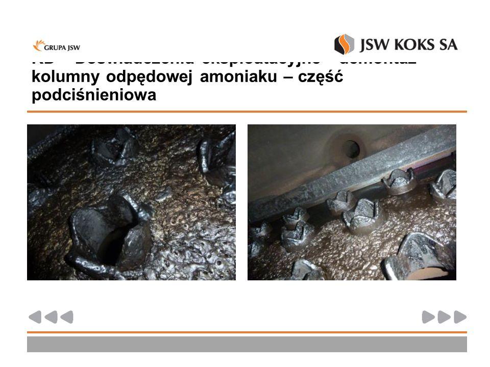 KD – Doświadczenia eksploatacyjne - demontaż kolumny odpędowej amoniaku – część podciśnieniowa