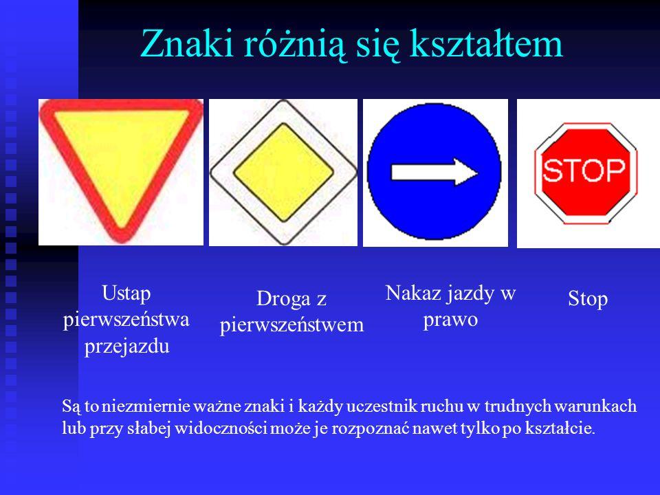 Znaki różnią się kształtem