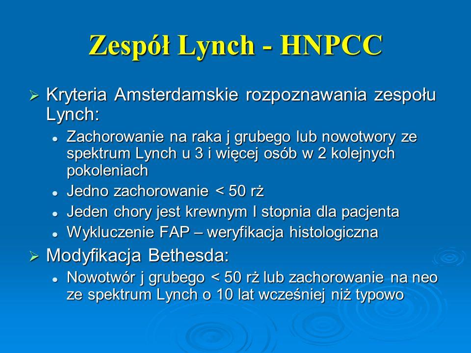 Zespół Lynch - HNPCC Kryteria Amsterdamskie rozpoznawania zespołu Lynch: