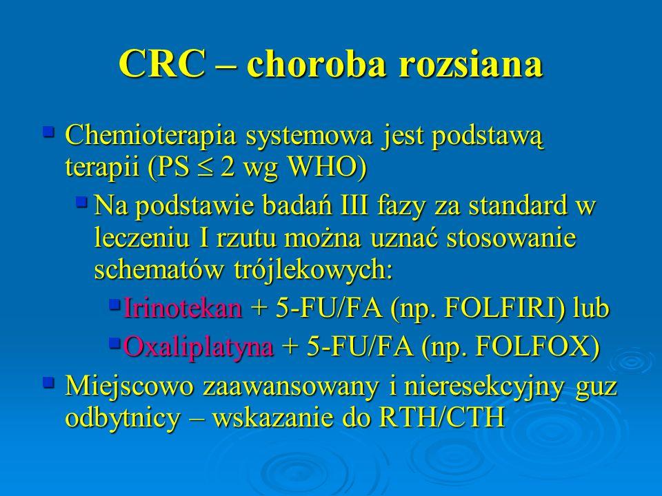 CRC – choroba rozsiana Chemioterapia systemowa jest podstawą terapii (PS  2 wg WHO)