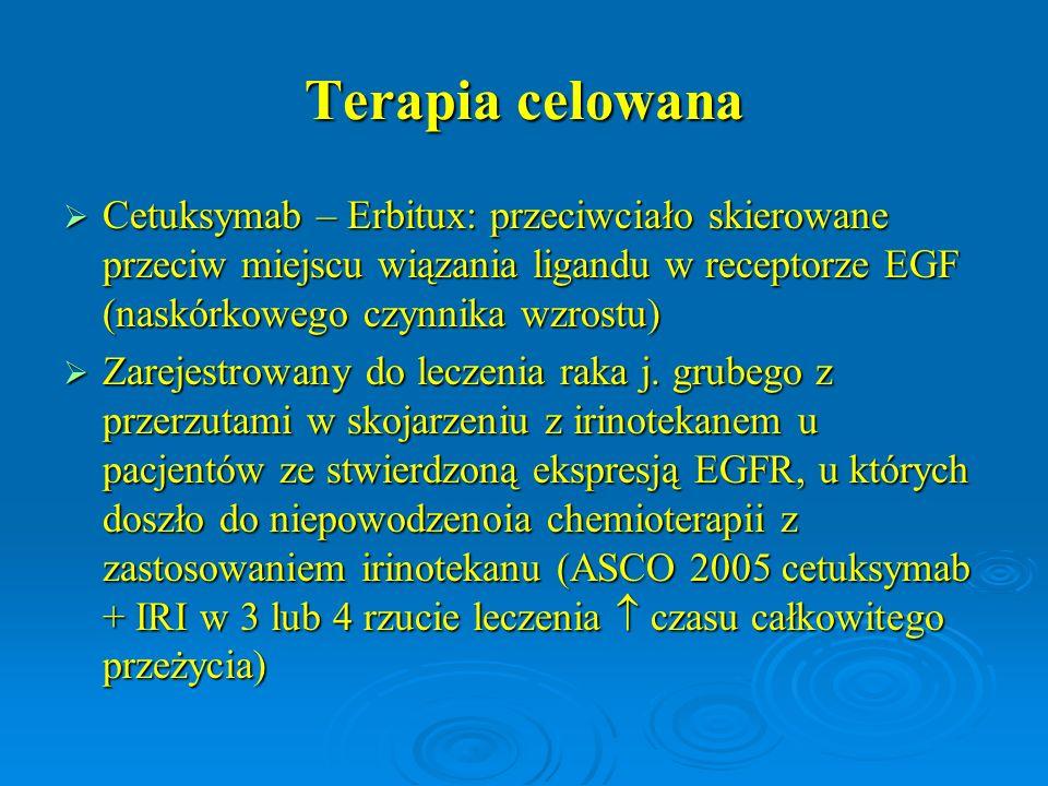 Terapia celowana Cetuksymab – Erbitux: przeciwciało skierowane przeciw miejscu wiązania ligandu w receptorze EGF (naskórkowego czynnika wzrostu)