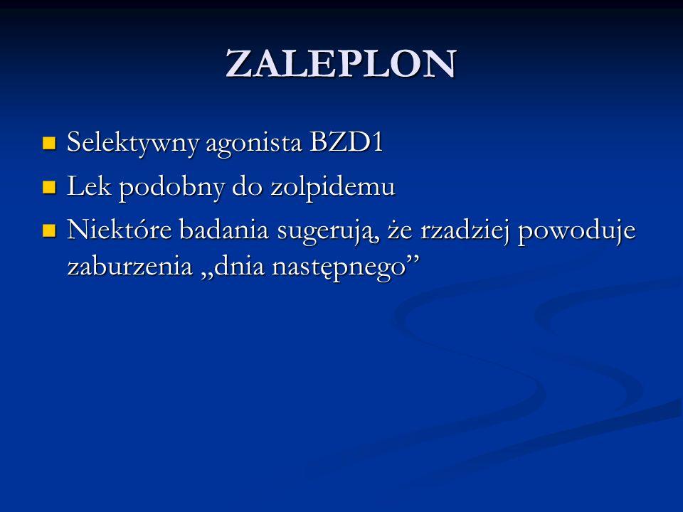 ZALEPLON Selektywny agonista BZD1 Lek podobny do zolpidemu