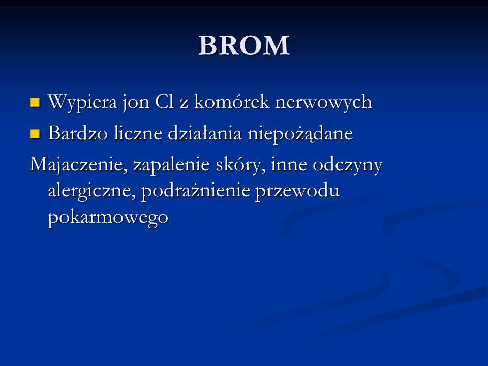 BROM Wypiera jon Cl z komórek nerwowych