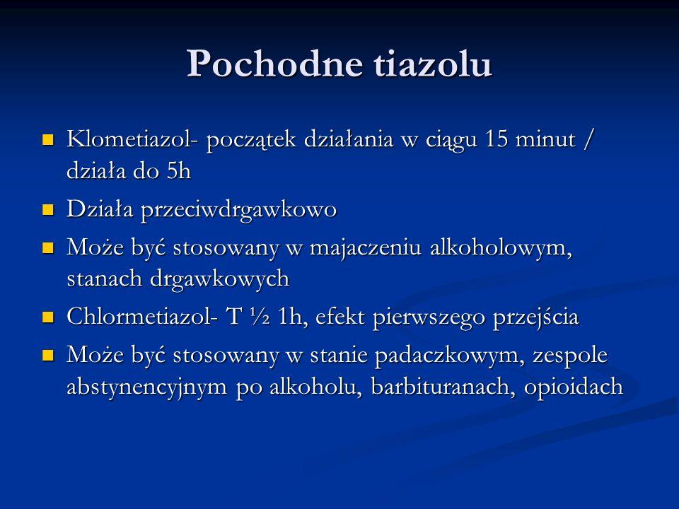 Pochodne tiazolu Klometiazol- początek działania w ciągu 15 minut / działa do 5h. Działa przeciwdrgawkowo.