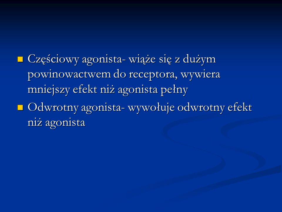 Częściowy agonista- wiąże się z dużym powinowactwem do receptora, wywiera mniejszy efekt niż agonista pełny