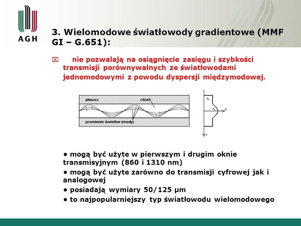 3. Wielomodowe światłowody gradientowe (MMF GI – G.651):