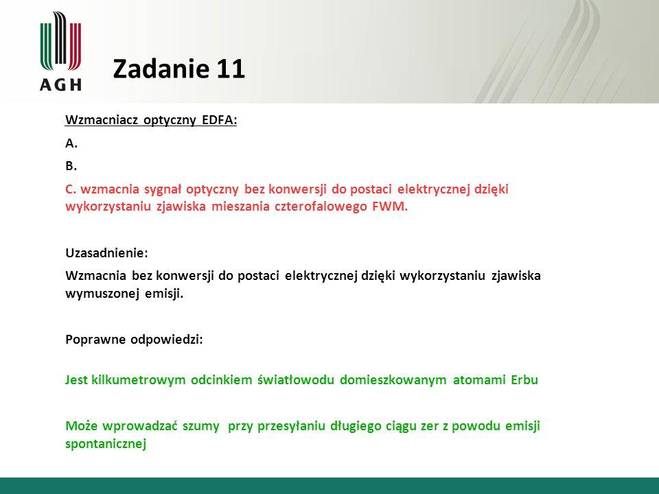 Zadanie 11 Wzmacniacz optyczny EDFA: A. B.