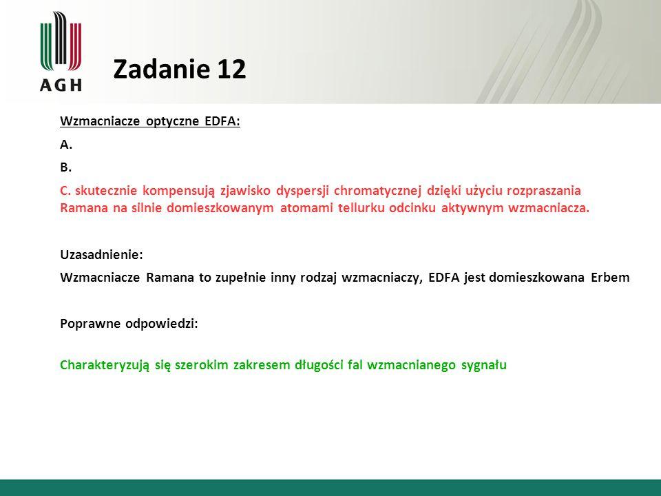 Zadanie 12 Wzmacniacze optyczne EDFA: A. B.