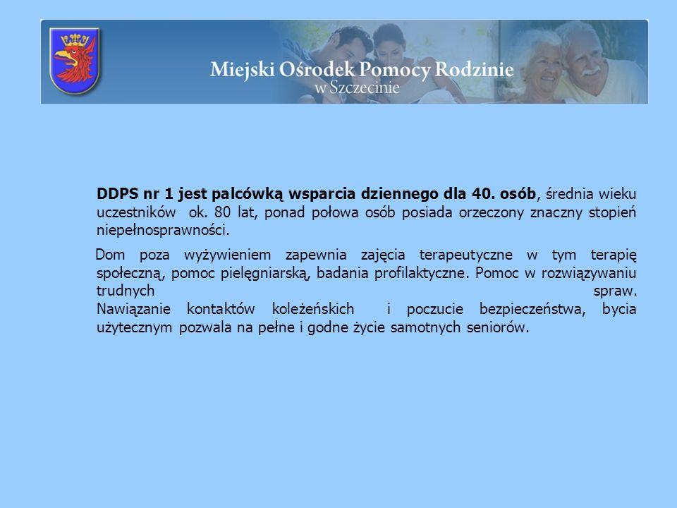 DDPS nr 1 jest palcówką wsparcia dziennego dla 40