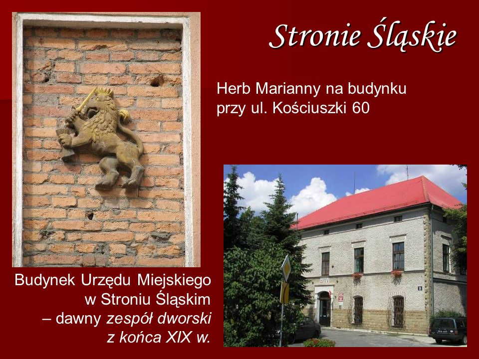 Stronie Śląskie Herb Marianny na budynku przy ul. Kościuszki 60