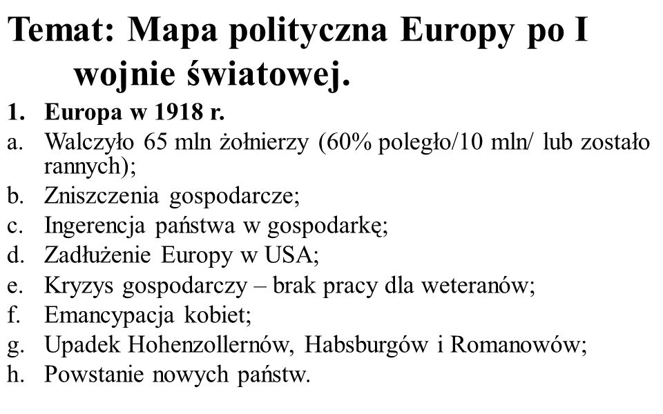 Temat: Mapa polityczna Europy po I wojnie światowej.