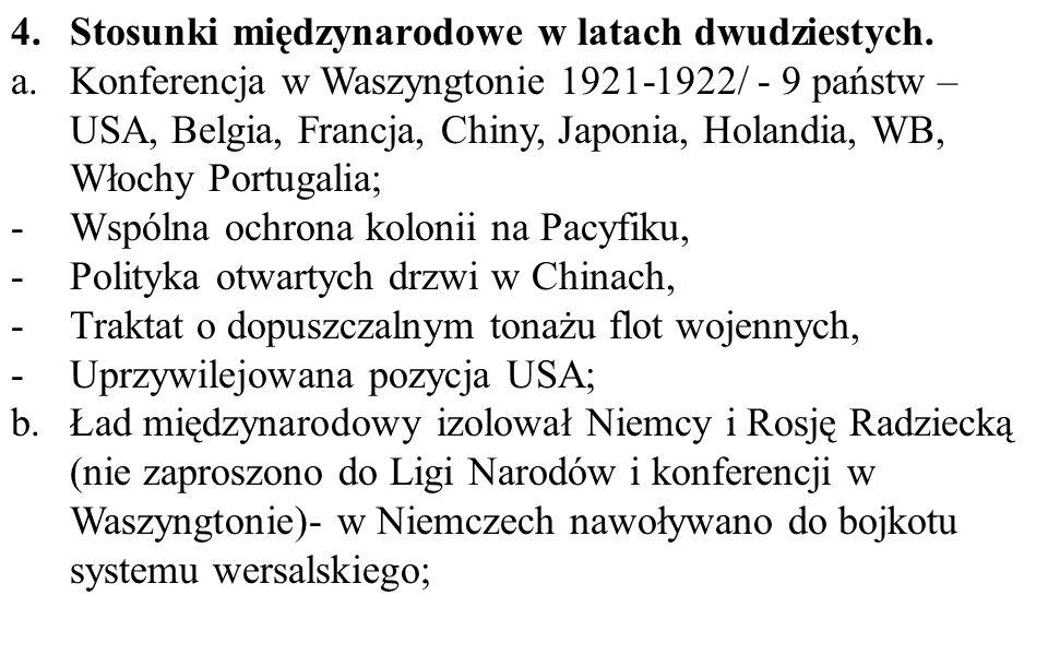 Stosunki międzynarodowe w latach dwudziestych.