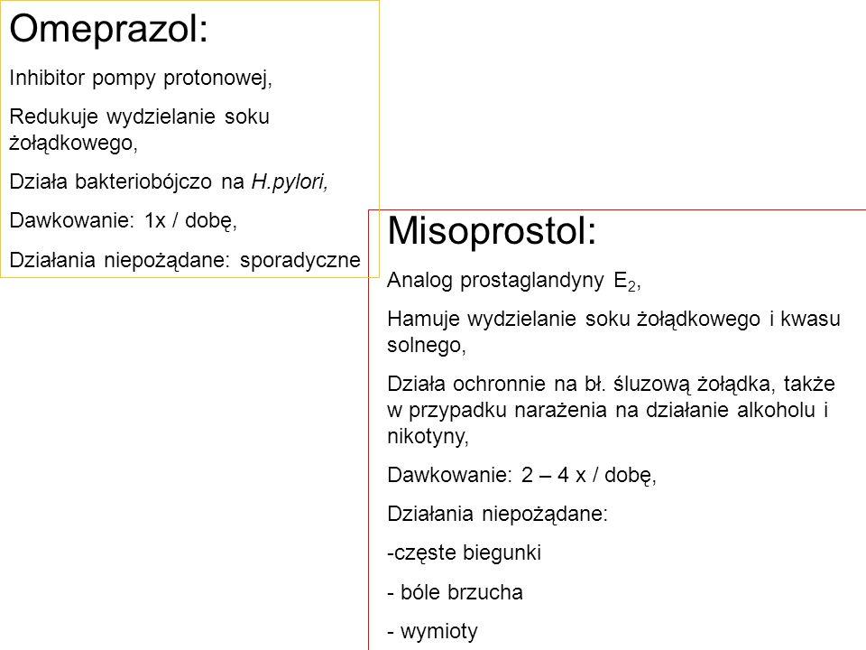 Omeprazol: Misoprostol: Inhibitor pompy protonowej,