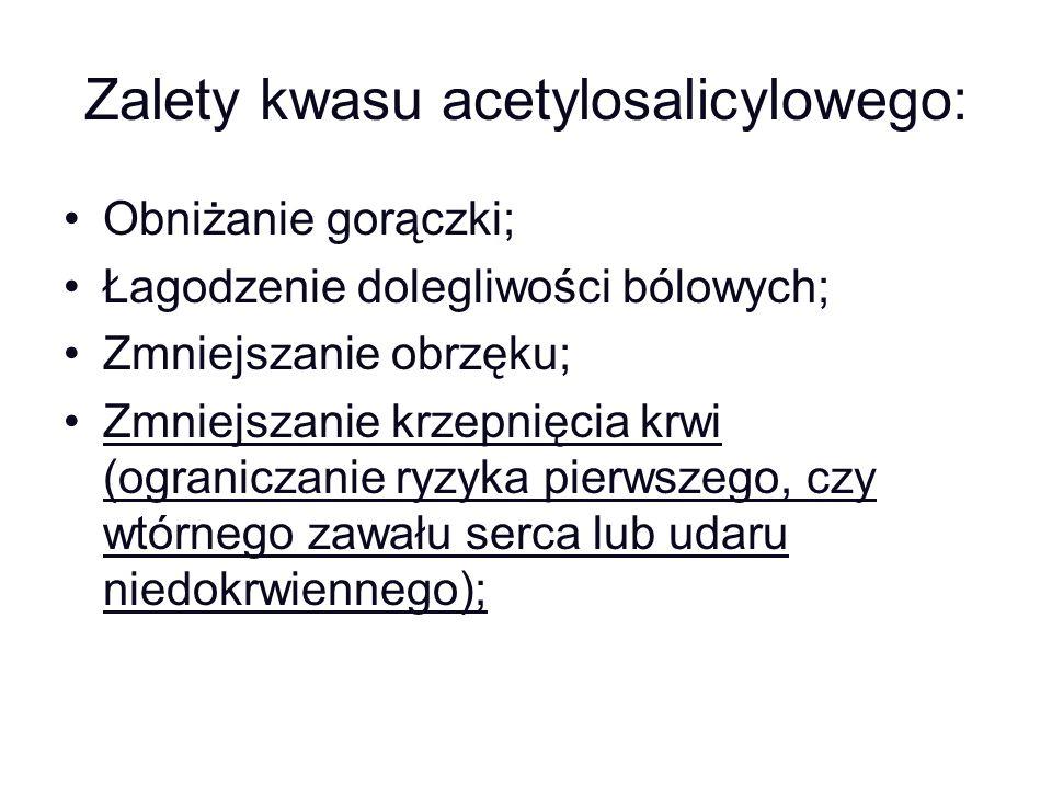 Zalety kwasu acetylosalicylowego: