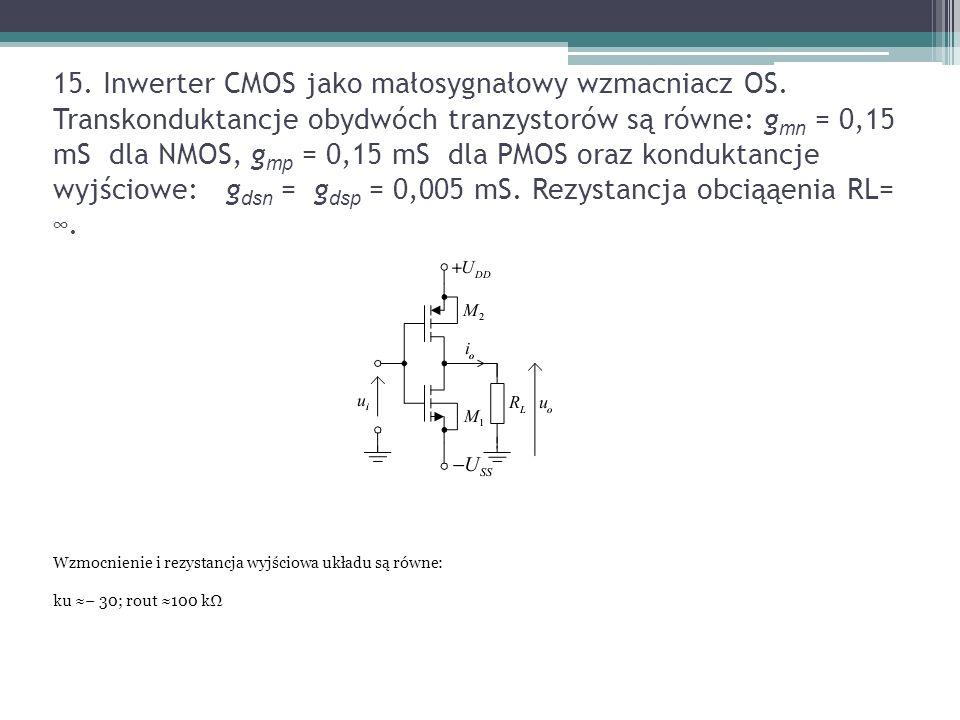 15. Inwerter CMOS jako małosygnałowy wzmacniacz OS