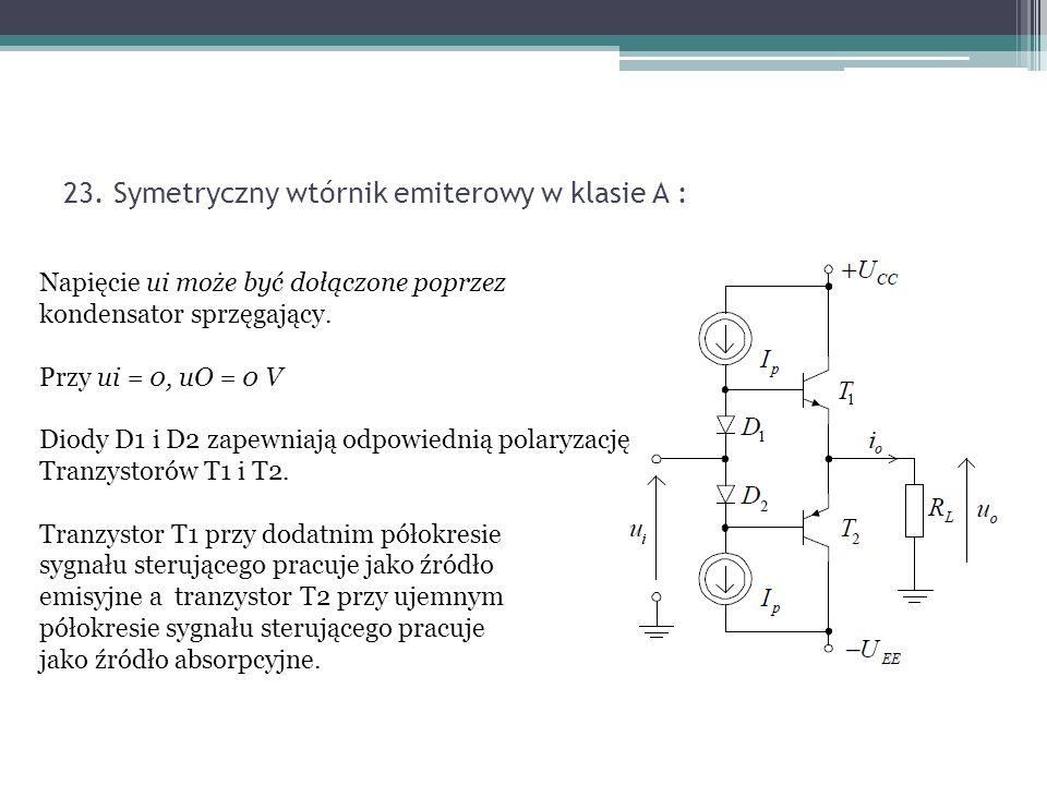 23. Symetryczny wtórnik emiterowy w klasie A :