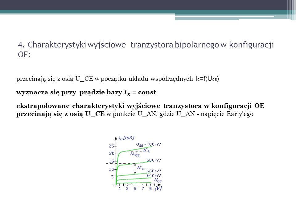 4. Charakterystyki wyjściowe tranzystora bipolarnego w konfiguracji OE:
