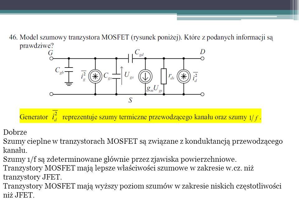 Dobrze Szumy cieplne w tranzystorach MOSFET są związane z konduktancją przewodzącego kanału.