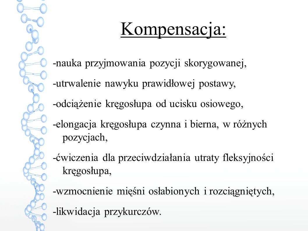 Kompensacja: -nauka przyjmowania pozycji skorygowanej,