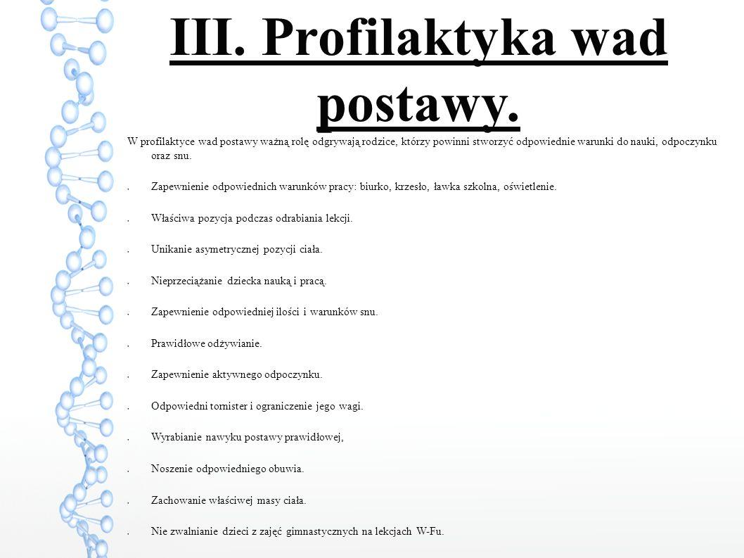 III. Profilaktyka wad postawy.