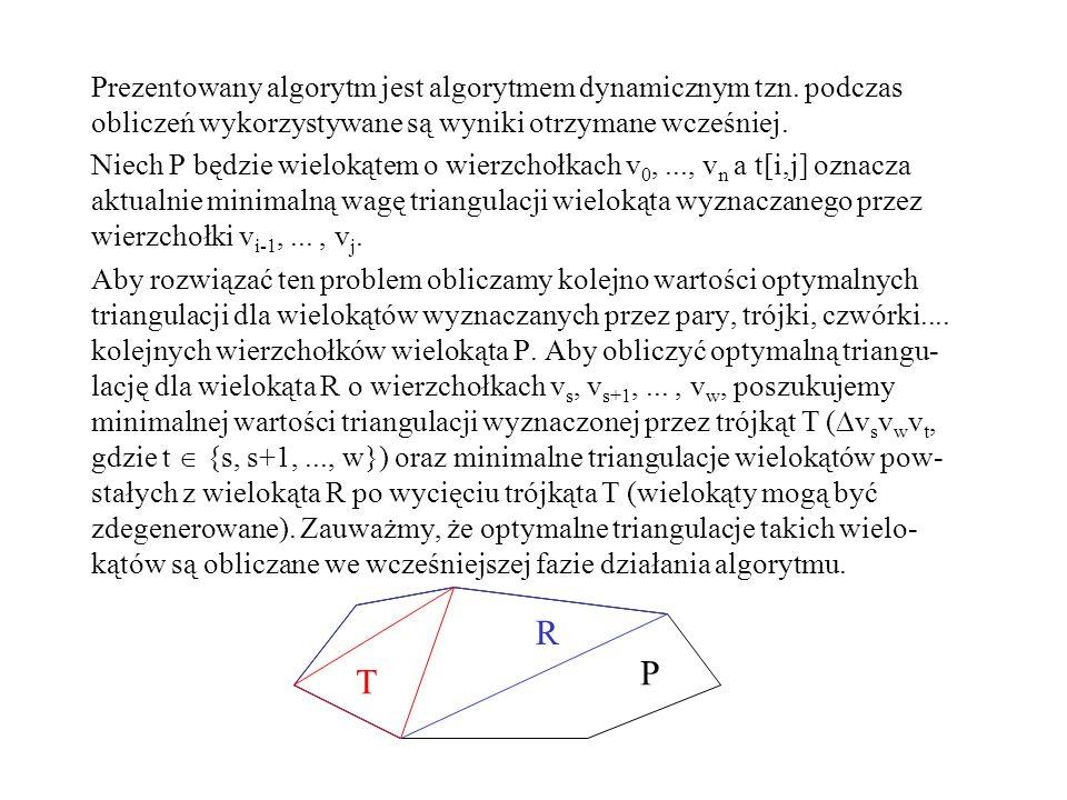 Prezentowany algorytm jest algorytmem dynamicznym tzn