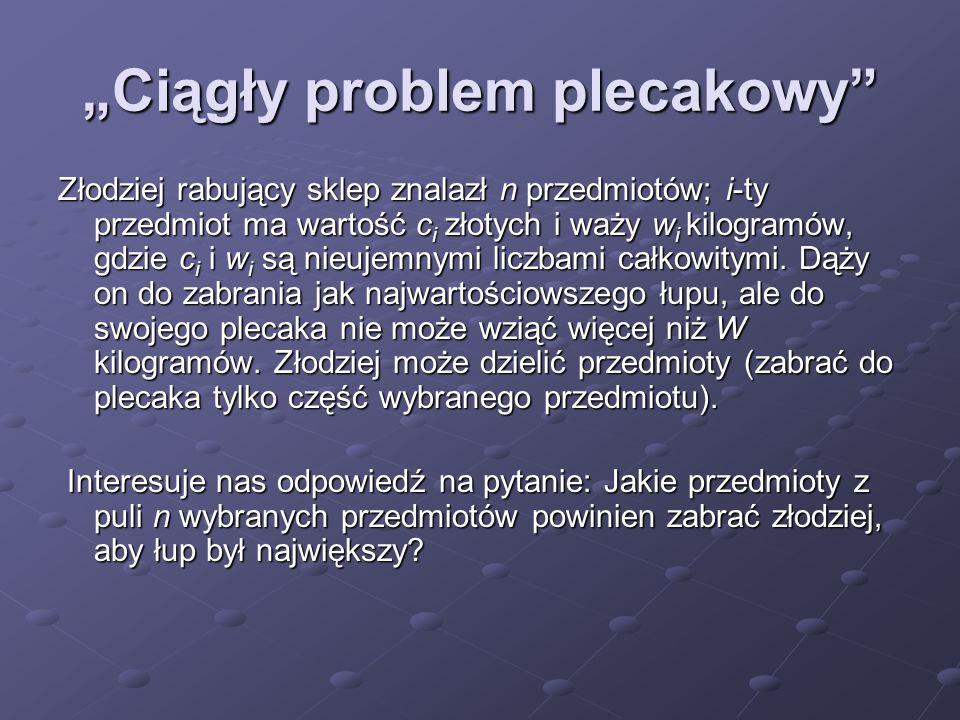 """""""Ciągły problem plecakowy"""