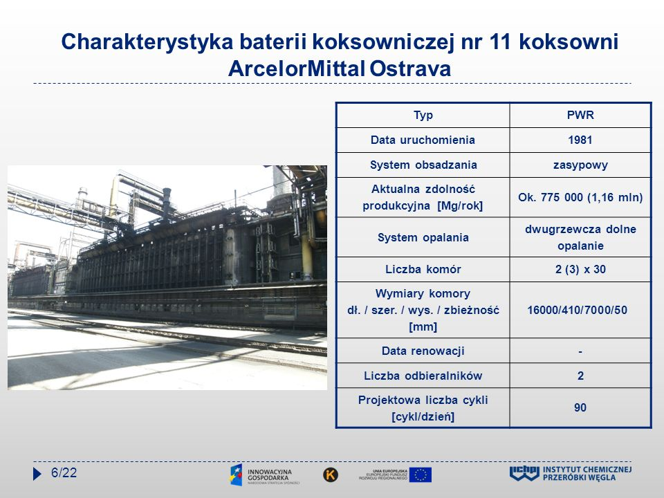 Charakterystyka baterii koksowniczej nr 11 koksowni ArcelorMittal Ostrava