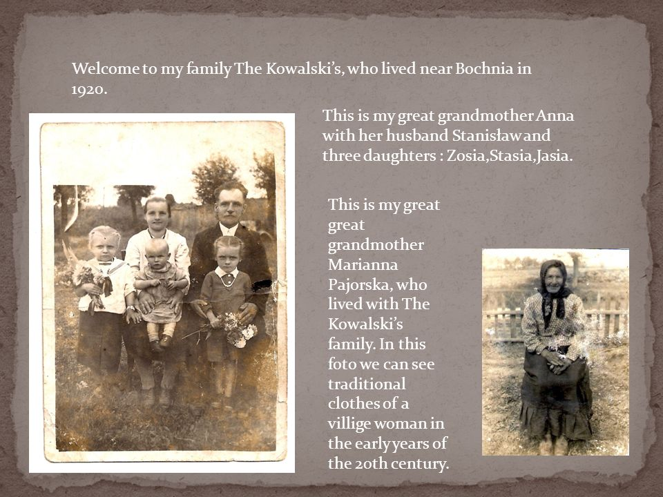 Welcome to my family The Kowalski's, who lived near Bochnia in 1920.