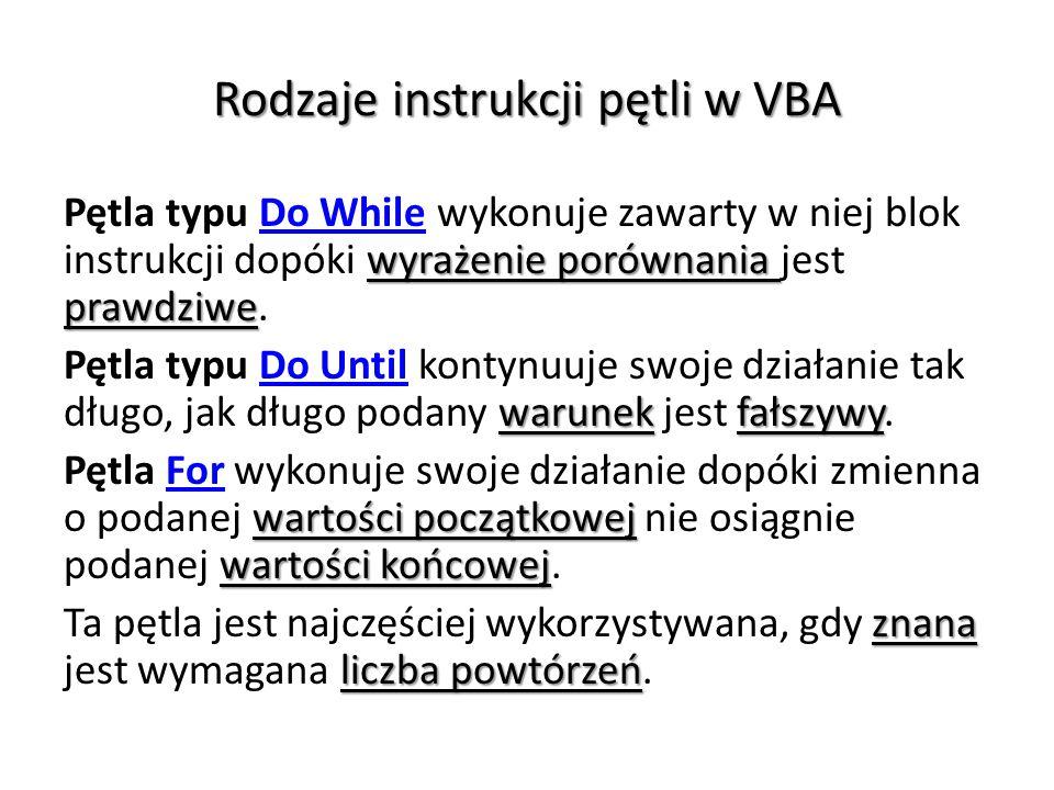 Rodzaje instrukcji pętli w VBA