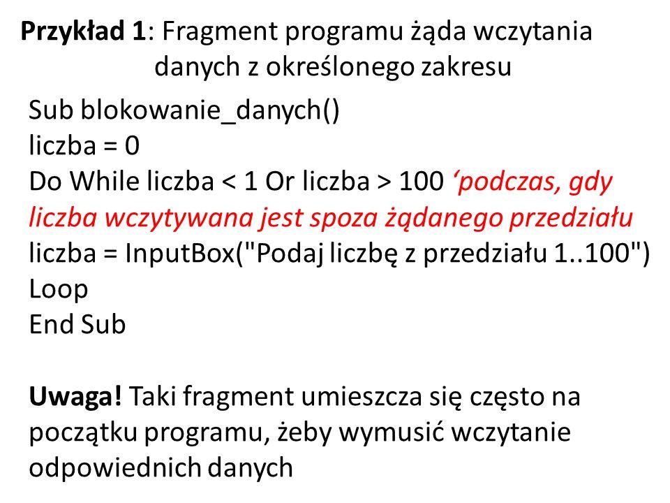 Przykład 1: Fragment programu żąda wczytania