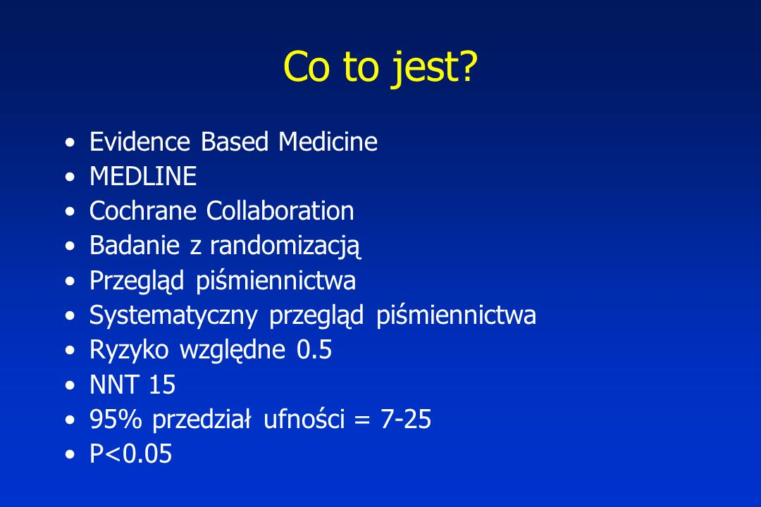 Co to jest Evidence Based Medicine MEDLINE Cochrane Collaboration