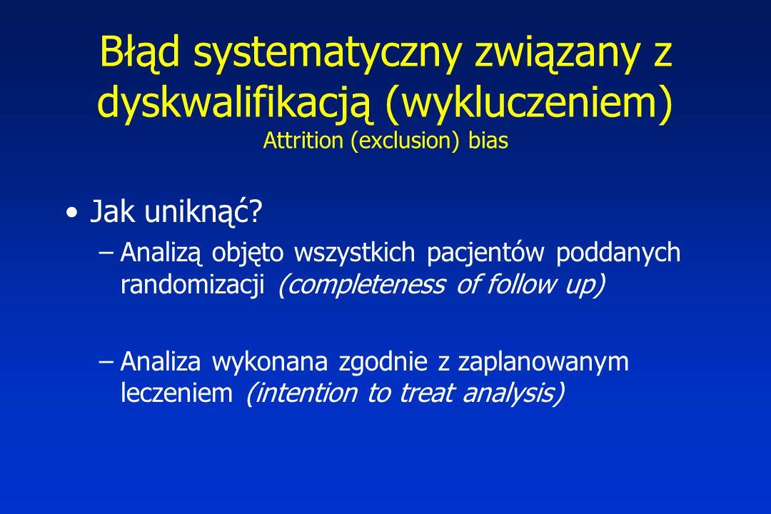 Błąd systematyczny związany z dyskwalifikacją (wykluczeniem) Attrition (exclusion) bias