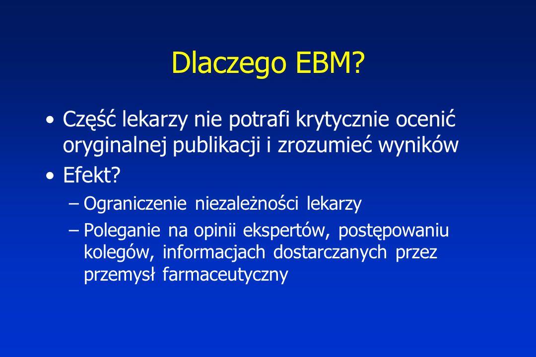 Dlaczego EBM Część lekarzy nie potrafi krytycznie ocenić oryginalnej publikacji i zrozumieć wyników.