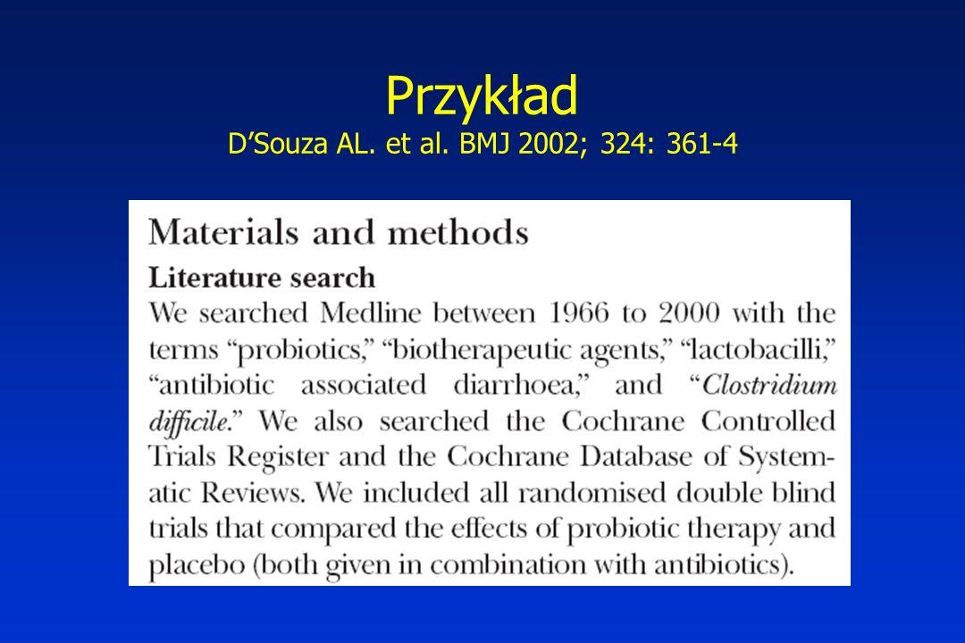 Przykład D'Souza AL. et al. BMJ 2002; 324: 361-4