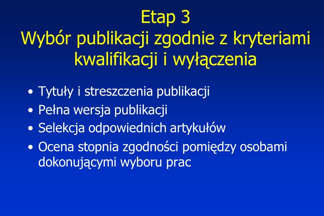 Etap 3 Wybór publikacji zgodnie z kryteriami kwalifikacji i wyłączenia