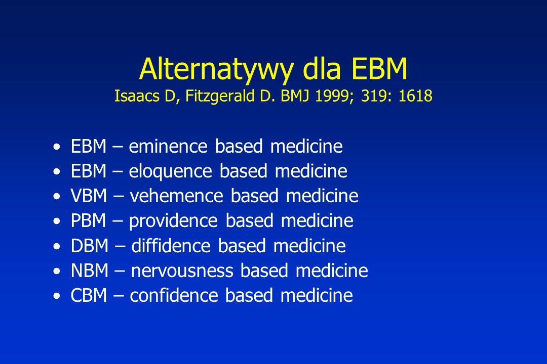 Alternatywy dla EBM Isaacs D, Fitzgerald D. BMJ 1999; 319: 1618
