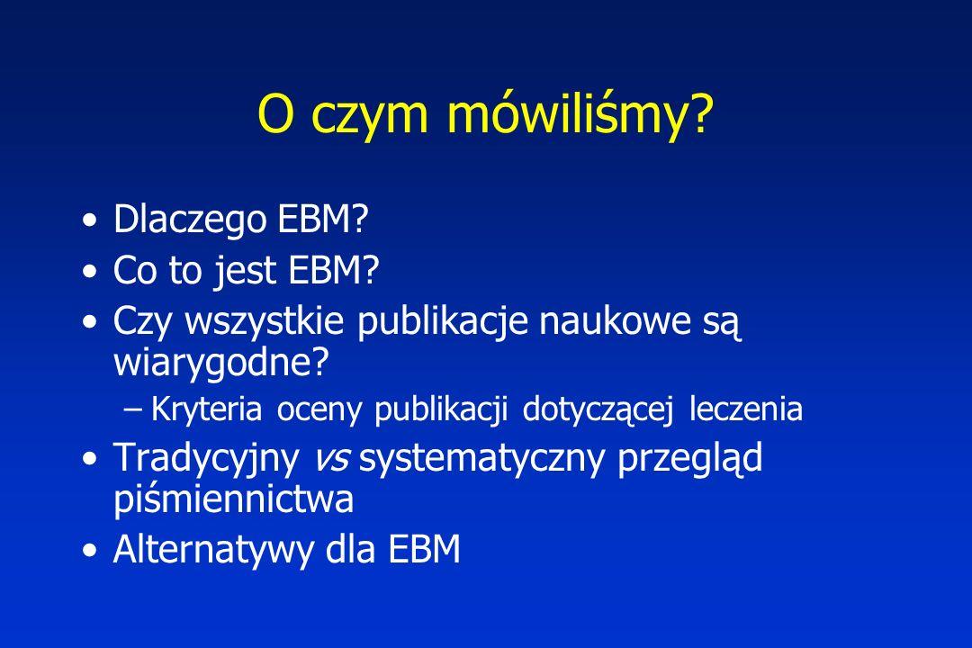 O czym mówiliśmy Dlaczego EBM Co to jest EBM