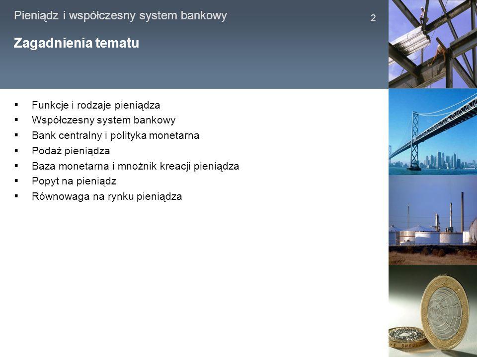 Zagadnienia tematu Funkcje i rodzaje pieniądza